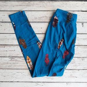 NWOT LULAROE OS Leggings Blue Feather
